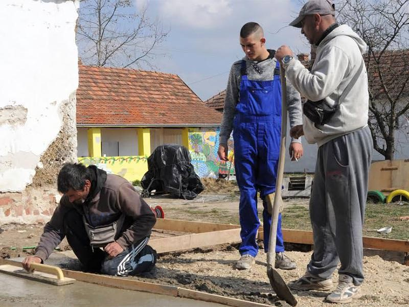 Laying of concrete in the village of Told